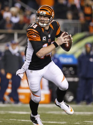Cincinnati Bengals quarterback Andy Dalton scrambles from the pocket against the Denver Broncos at Paul Brown Stadium.