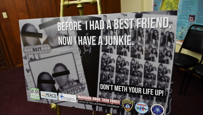 The Mandaña Drug Task Force revealed some of their new anti-drug shock ads at the Ricardo J. Bordallo Governor's Complex in Adelup on Sept. 1, 2017.