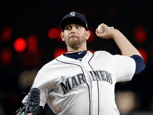 FILE - In this Tuesday, May 2, 2017, file photo, Seattle Mariners starting pitcher James Paxton throws against the Los Angeles Angels during the second inning of a baseball game in Seattle. Paxton is set to come off the disabled list for the Mariners against Colorado. Paxton (3-0, 1.43 ERA) was among baseball's best pitchers in April before landing on the DL with a left forearm strain. (AP Photo/Elaine Thompson, File)