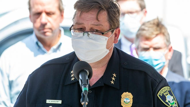 Springfield Police Chief Kenny Winslow announces that two people were killed and one victim was in critical condition following a shooting at the Bunn-O-Matic warehouse during a press conference on Stevenson Drive, Friday, June 26, 2020, in Springfield, Ill. The suspect in the shooting was later found dead in his vehicle in Morgan County.