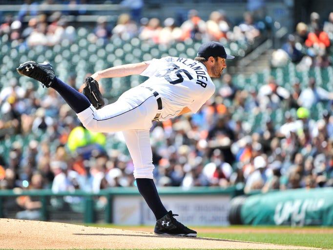 Tigers pitcher Justin Verlander works in the first