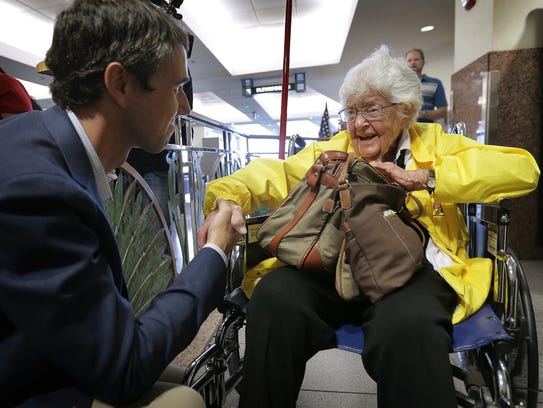 U.S. Congressman Beto O'Rourke greets 101-year-old