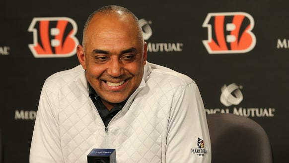 Cincinnati Bengals head coach Marvin Lewis takes questions