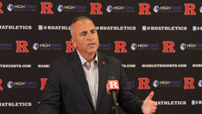 Kyle Flood speaks to the media Monday for the first time since he was suspended and fined by Rutgers.