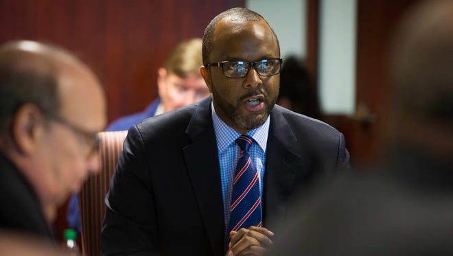 Marcus Henry, currently New Castle County's general manager of community services, speaks at a meeting in 2015.
