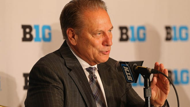 Michigan State Spartans head coach Tom Izzo speaks with the media during Big Ten media day at the Marriott Washington Wardman Park Thursday.