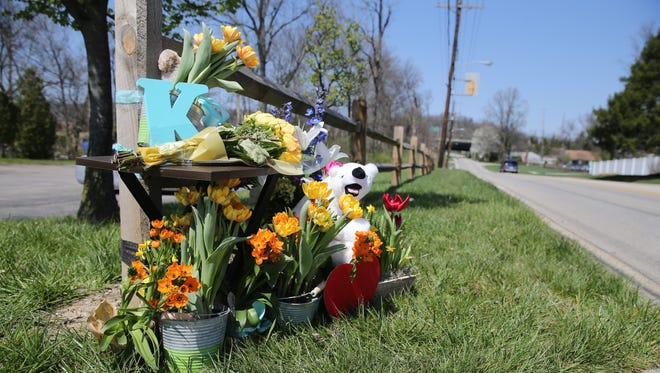 A makeshift memorial to Kyle Plush sits near Seven Hills school in Madisonville on Thursday, April 12, 2018.