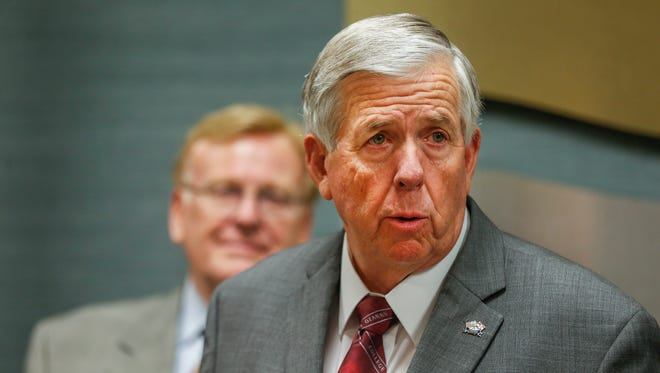 Missouri Governor Mike Parson speaks to the media following a listening session at the Springfield Chamber of Commerce on Tuesday, June 12, 2018.