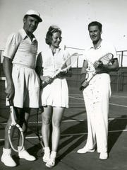 Charley Farrell, Alice Marble and Errol Flynn, circa