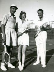 Charley Farrell, Alice Marble and Errol Flynn, circa