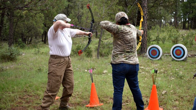 Women from all over the country traveled to Mayhill to attend Women in the Outdoors, a three-day retreat hosted by the National Wild Turkey Federation, that taught hunting, archery, turkey-calling and survival skills to women.