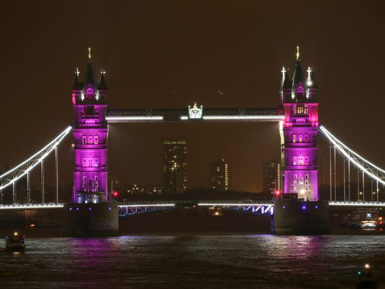 Tower Bridge is lit up to celebrate the Duke and Duchess