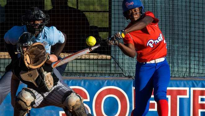 Jackson Prep's Shekinah Lumpkin takes a swing against Oak Forest during the MAIS AAAA Division I softball finals on Saturday. Prep lost Game 2 but won the decisive Game 3.