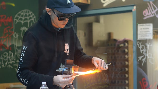 The glassblowing studio in Tobacco Leaf is used by both beginners and experts.