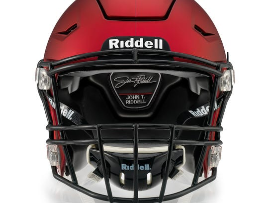 The front view of a Riddell SpeedFlex helmet with Precision-Fit