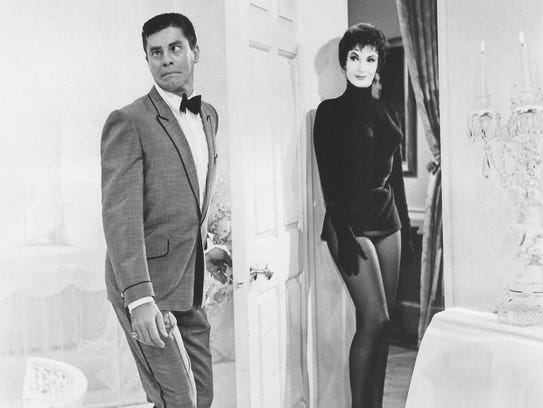 Sylvia Lewis and Jerry Lewis in the White Room scene