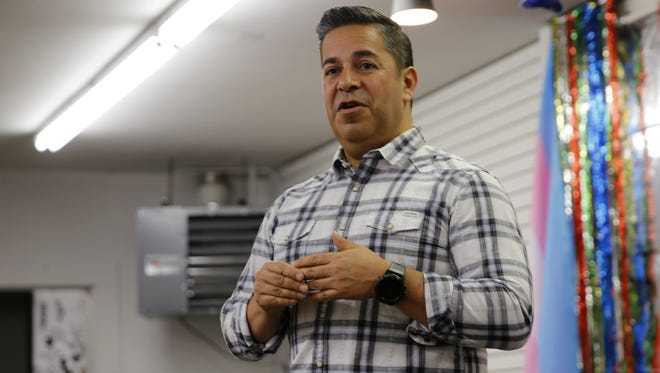 U.S. Rep. Ben Ray Luján speaks during a campaign visit Friday to the Identity Inc. community center in Farmington.