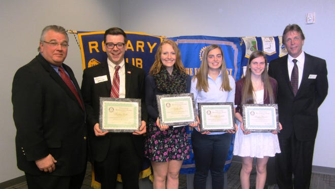 Pictured are, from left: Marty Ryan of Physio O&P; students Hunter Lisko, Nicole Fox, Elizabeth Leichtle, Megan Buechel and Peter Zacherl, President of the Fond du Lac Noon Rotary.