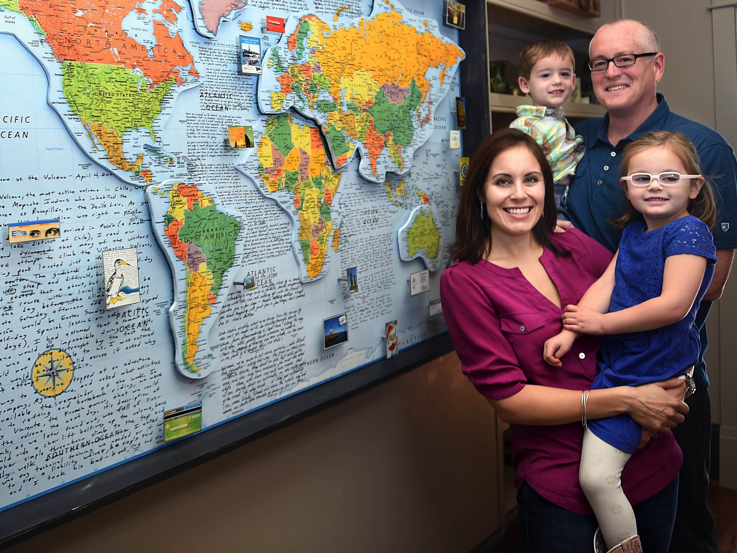 Shanna and Derek Hughey with their children Harper,4,