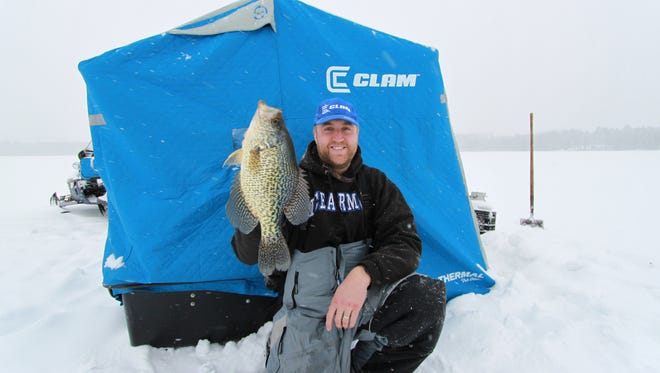 Crappie, like this black crappie caught by columnist Scott Mackenthun, are a popular target for Minnesota anglers. Larger, minnow-mimicking baits, work well on aggressive crappies looking for a fishy meal