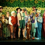 "Performers gather onstage before rehearsing ""Shrek the Musical"" at Richmond Civic Theatre."