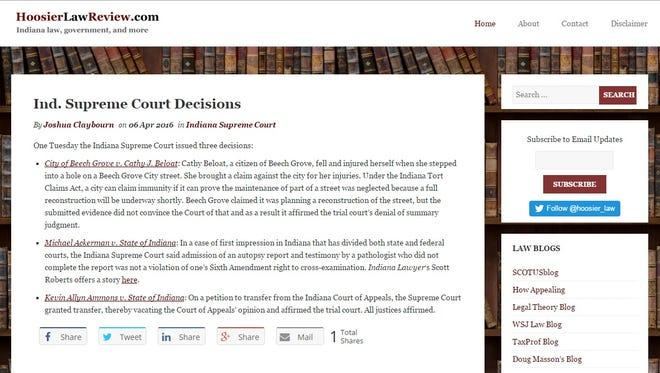 Screenshot of Hoosier Law Review's website