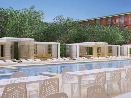 An artist's rendering of the pool area of the proposed Palm Springs Community Church/Orchid Tree Inn renovation project.