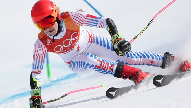Mikaela Shiffrin winning Thursday's Olympic giant slalom. She also competed in the slalom on Friday.