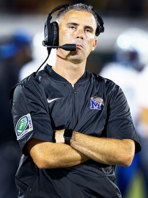 Memphis coach Mike Norvell looks on as the Tigers fall behind Central Florida during the second quarter Saturday, Sept. 30, 2017.