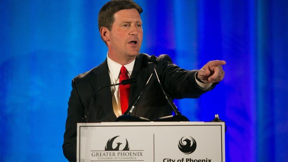 Phoenix Mayor Greg Stanton goes running to Mommy, the