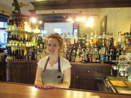 Anastasia, from the 1912 bar The Red Corner on Nekrasova Street, our favorite jazz and movie loving bartender in Saint Petersburg, Russia.