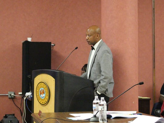 Monroe Transit General Manager Marc Keenan presents information regarding the transit system to the Monroe City Council on Nov. 14, 2017.