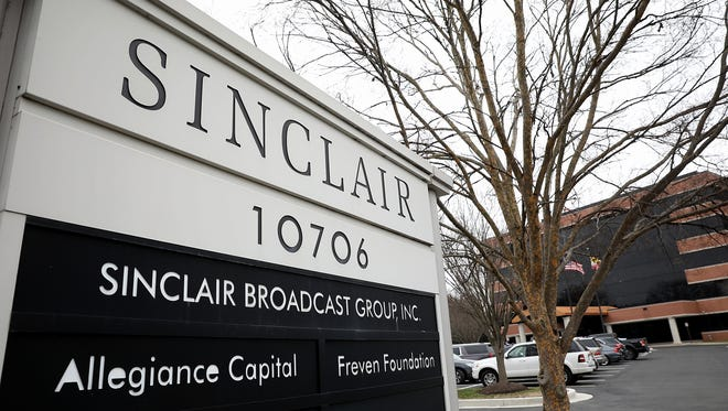 """The headquarters of the Sinclair Broadcast Group is shown April 3, 2018 in Hunt Valley, Maryland. The company, the largest owner of local television stations in the United States, has drawn attention recently for repeating claims by U.S President Donald Trump that traditional television and print publications offer """"fake"""" or biased news."""