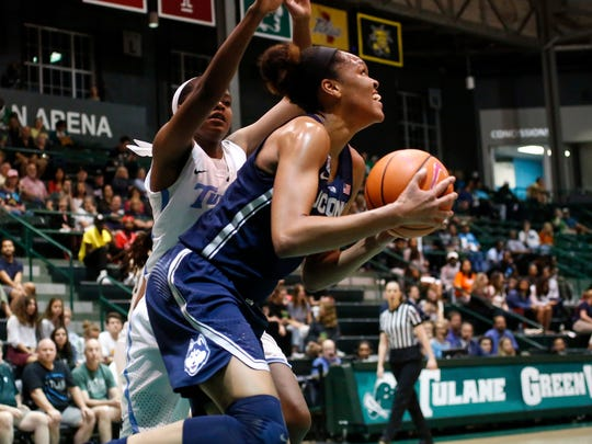 Tulane forward Krystal Freeman (23) guards Connecticut's Azura Stevens during a 2018 game. Freeman was named to the All-American Athletic Conference's preseason first team Monday.