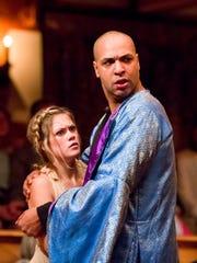 "Lauren Ballard as Miranda and René Thornton, Jr. as Prospero in ""The Tempest."" Thornton, Jr. is Lear in ""King Lear,"" Malvolio in ""Twelfth Night"" and Richard III in ""The Rise of Queen Margaret."""
