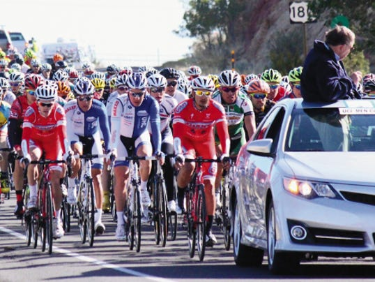 Danny Udero/Sun-News   The UCI men's division takes off toward Cliff in the Silver City to Mogollon Road Race from last year.