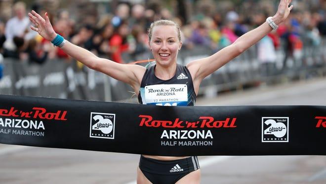 Neely Spence Gracey wins the Rock N' Roll Half Marathon on January 15, 2017 in Tempe, Ariz.