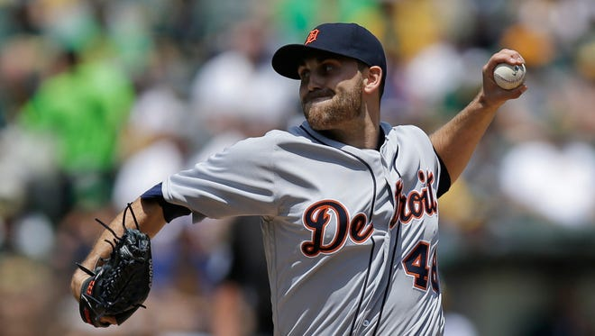 Detroit Tigers pitcher Matt Boyd works against the Oakland Athletics in the first inning Saturday, May 28, 2016, in Oakland, Calif.