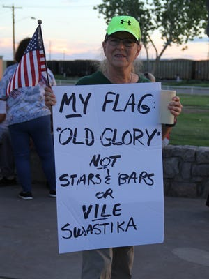 Alamogordo resident Joyce Westerbur attended the Alamogordo candlelight vigil because she believes her father did not fight against the swastika during World War II to have the evil symbol brought to America.