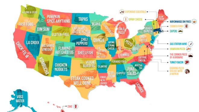 Hater, a dating app that matches people based on mutual dislikes, recently harnessed user data to create a map of the most hated food in each U.S. state.