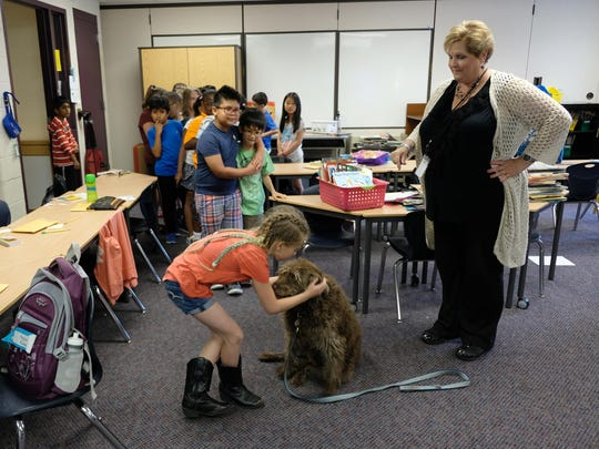 Second-graders at Village Oaks Elementary in Novi say goodbye to Teagan, a 12-year-old chocolate Labradoodle, who is retiring after 11 years of being a therapy dog at the school.