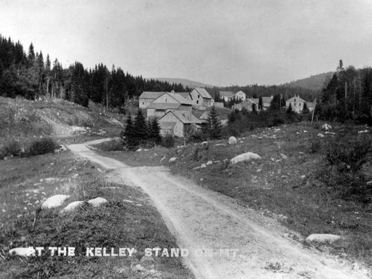 View of Kelley Stand from the Stratton Turnpike, now Kelley Stand Road in Sunderland, ca. 1905.
