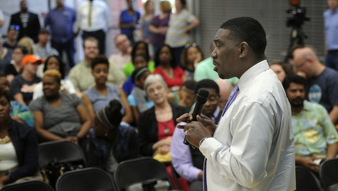 File photo of Metro Nashville Public Schools Director Shawn Joseph conducting a community forum at Shayne Elementary School in 2016
