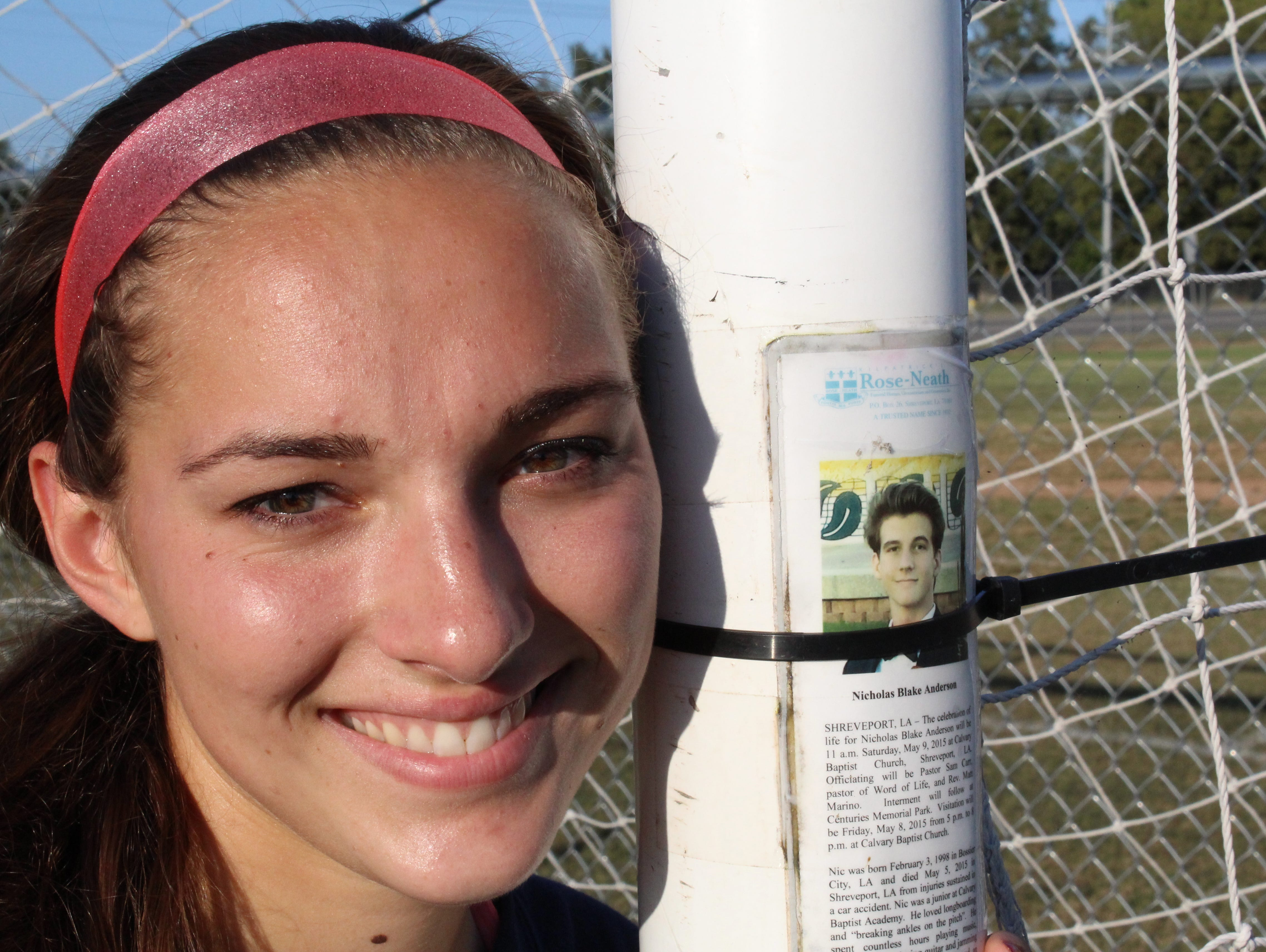 Oakland goalkeeper Emma Grace Goldman keeps a reminder of her step brother on a goalpost. He died this past spring.