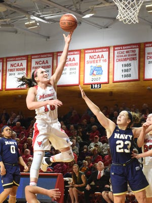 Marist College's Maura Fitzpatrick takes a layup against Navy at McCann Arena in Poughkeepsie on Friday.