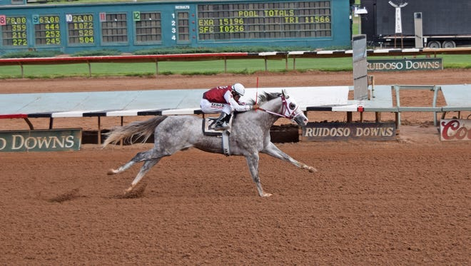 The Ruidoso Downs race season begins May 26 with two days of trials to the Grade 1, $1-million Ruidoso Futurity and then the Grade 1 $1-million (est.) Ruidoso Derby. Pictured here is Imperial Eagle qualifying for the 2016 Grade 1, $3-million All American Futurity.