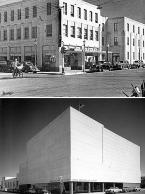 """Central Power & Light's main office building at Chaparral and Laguna (renamed Sartain), shown in a photo by """"Doc"""" McGregor taken on Sept. 4, 1940 (top). The building was enlarged and remodeled, as shown in a photo by Sammy Gold taken on Aug. 9, 1957 (bottom). After CPL moved to new headquarters on Carancahua, the city purchased the building in 1988 to house the police department and municipal courts."""