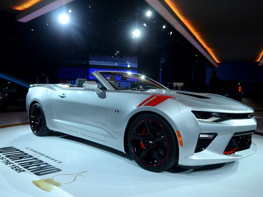 The Chevy Camaro is displayed Tuesday, Jan. 12, during the North American International Auto Show at Cobo Hall.