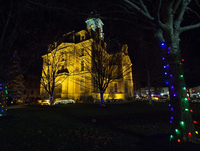 Lights decorate trees at the Old Courthouse Noblesville during the tree lighting ceremony Nov. 29, 2013. D. Kevin Elliott / For The Star