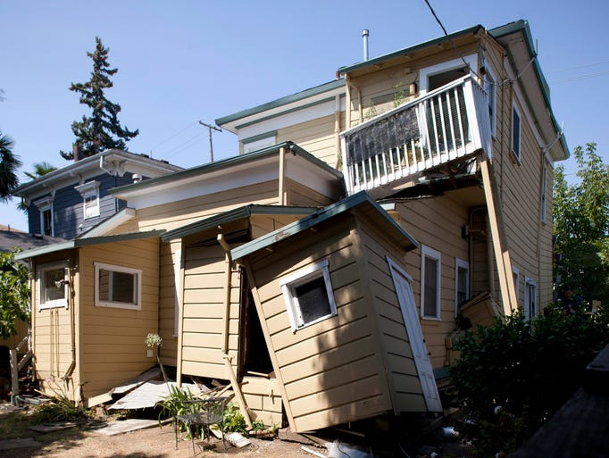 A house slid off its foundation near downtown Napa.